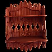 Rare Antique Natural Wicker Hanging Shelf Circa 1880's
