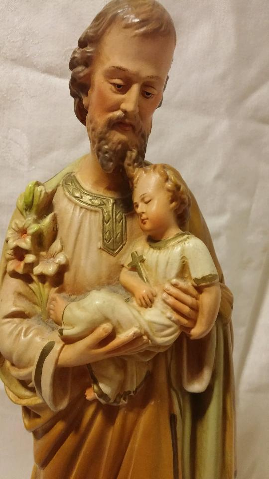 Statue Of Saint Joseph Holding Baby Jesus Circa 1920 S