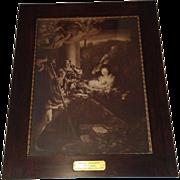 Extra Large Antique Lithograph titled Holy Night by Antonio da Correggio Circa 1890's