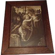 Virgin and Child with Young John the Baptist by Sandro Botticelli Extra Large Antique Lithogra