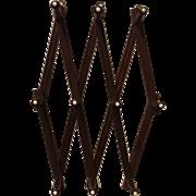 Accordion Style Walnut Wood Hat Rack Circa 1910
