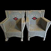 Pair  Art Deco Wicker Chair and Rocker  Circa 1920's