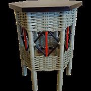 Hexagonal Art Deco Wicker Tabouret Table  Circa 1920's
