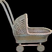 Adorable Wicker Doll Carriage  Circa 1920's