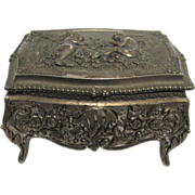 Jewelry Keepsake Box Cast Metal Repose Lid and Sides