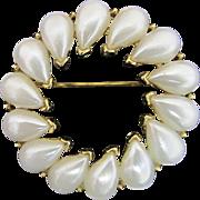 TRIFARI Faux Pearl Circle Pin