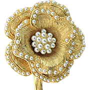 Flower Pin with Faux Seed Pearl Beading