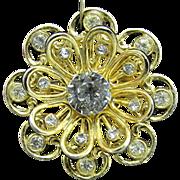 CORO Rhinestone Flower Pin
