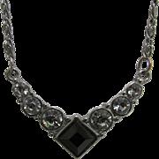 SALE Onyx and Rhinestone Necklace