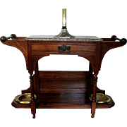SALE Hall Stand American Victorian Walnut Wood with Incising