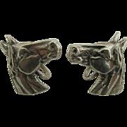 SALE Horse Head Sterling Set of Earrings Screw Backs