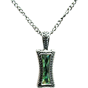 """SALE Necklace 26"""" Chain Green Faceted Strass Pendant"""