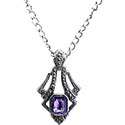 SALE Necklace with Marcasite Pendant Inset Amethyst Strass
