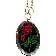 """SALE Necklace with Embedded Roses in Lucite Pendant on 16"""" Chain"""