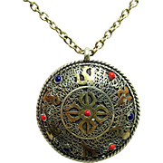 """SALE Necklace with Oriental Medallion Pendant on 24"""" Chain"""