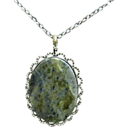 """Necklace with Moss Agate Pendant 18"""" Chain"""