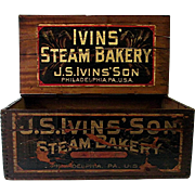 SOLD IVINS and Son Steam Bakery Wood Advertising Box