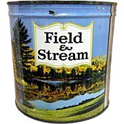 REDUCED Field and Stream Unopened Keywind Tobacco Advertising Tin