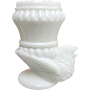 Open Salt or Tooth Pick Holder  Milk Glass Chicken