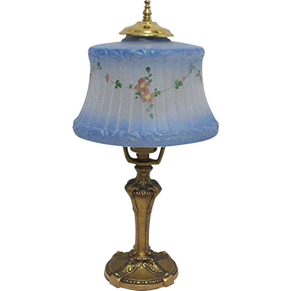 antique blue frosted painted glass table lamp from drury. Black Bedroom Furniture Sets. Home Design Ideas