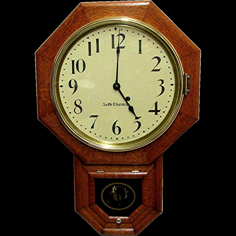 Antique Oak Seth Thomas Wall Clock 100% Original and Fully ...