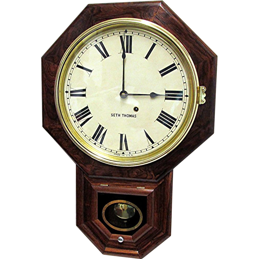 Antique rosewood seth thomas wall clock from drury on ruby for Seth thomas wall clocks value