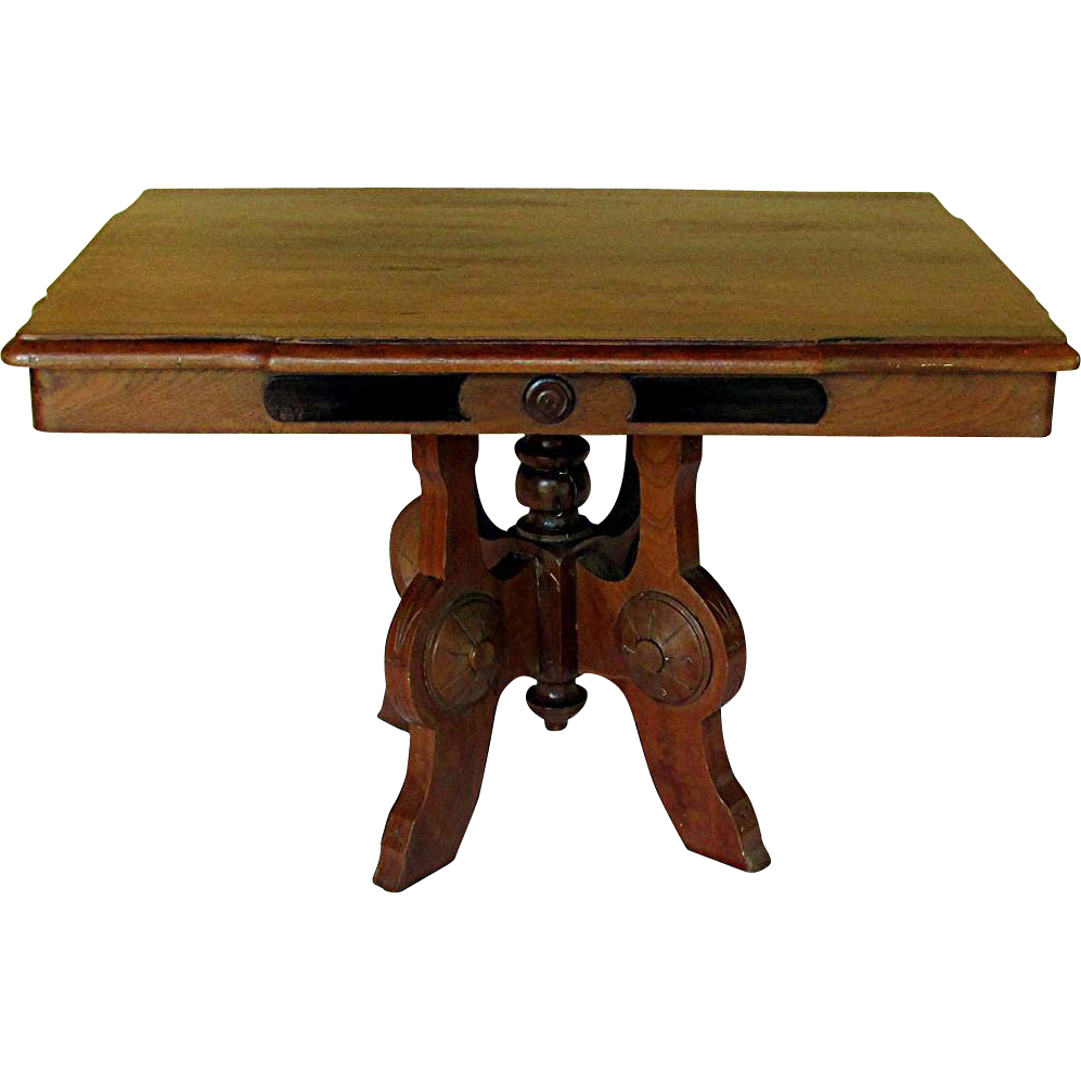 Victorian walnut eastlake table coffee table height for Tall coffee table
