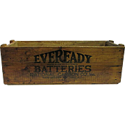 SALE Eveready  Batteries Wood Advertising Box Large