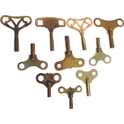 SALE Ten Antique Clock Keys