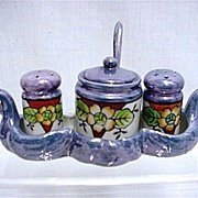 Lusterware Condiment Set Hand Painted in Swan Tray