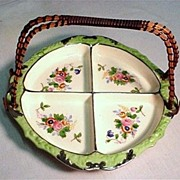 Porcelain Serving Dish Divided with Bamboo Handle