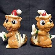 Chipmunk Salt and Pepper Christmas Set