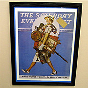 SALE Off To The Auction 1937 Framed Saturday Evening Post Cover 50% OFF