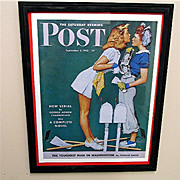 SALE The Girls Back Home 1942 Framed Saturday Evening Post Cover 50% OFF