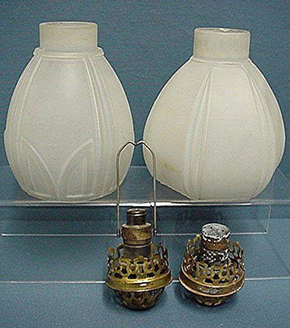 Gaslight Lamp Shades Matching Glass Pair