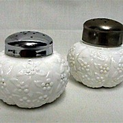 SALE Salt and Pepper Shakers American Glass Set Forget Me Not