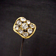 """SALE Hatpin Gold Gilt 10 1/2"""" long with Brilliants  $100"""