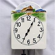 SALE Austrian Wall Clock Weight Driven Porcelain Dial