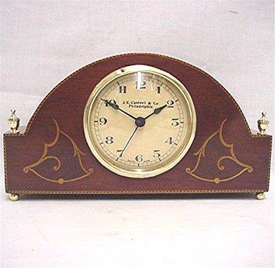 Inlaid Walnut Desk or Mantel Clock