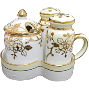 REDUCED Nippon Condiment Set White and Gold Pattern