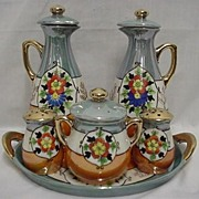 Cruet or CondimentSet Takito Porcelain Complete Set Oil, Vinegar, Salt,Pepper, Mustard and Tray