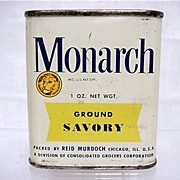 SALE Bargain Advertising Tin For Monarch Spices  Ground Savory
