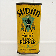 SALE Bargain Advertising Spice Tin Sudan Whole Black Pepper 1931