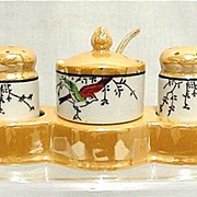 Luster Salt Pepper Mustard Set in Tray