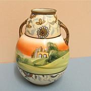 SALE Nippon Vase Bisque Porcelain Hand Painted Antique