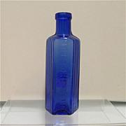 Cobalt Glass Poison Bottle