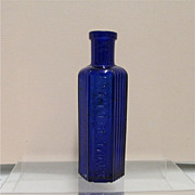"SALE Cobalt Poison Bottle 4 3/8"" tall with Ribbing"