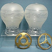 SALE Glass Shades a pair of Etched Balloon Shape for Antique Lamp