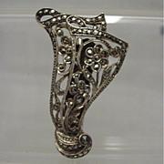 SALE Dress Clip SILVER Art Nouveau  Marcasite  Setting