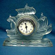 SALE Glass Sailing Ship Clock 50% OFF Perfect for Desk Table or Mantel